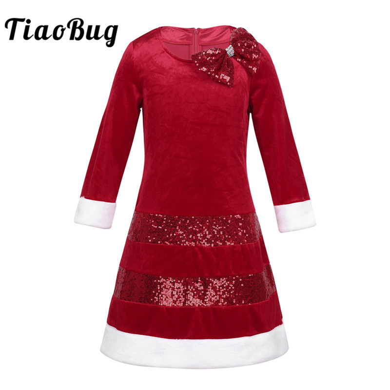 TiaoBug Girls Children Long Sleeve Sequins Bowknot White Faux Fur Christmas Costume Dress for Xmas Santa Cosplay Party Dress Up