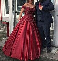 Бордовые длинные платья для выпускного вечера 2019 бальное платье с атласной аппликацией вечернее платье милые 16 платья Свадебные платья