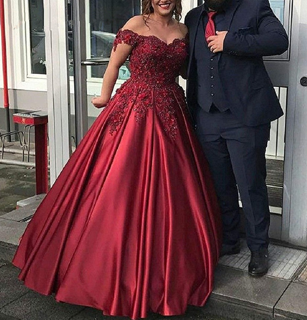 Burgundy Long   Prom     Dresses   2019 Ball Gown Satin Appliques Evening Party   Dress   Sweet 16   Dresses   Wedding Party   Dresses
