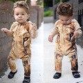 De moda de alta calidad de los mamelucos Del Bebé del león impresión preciosa Bebé encapuchados ropa de bebé mono de los niños ropa roupas bebesN9