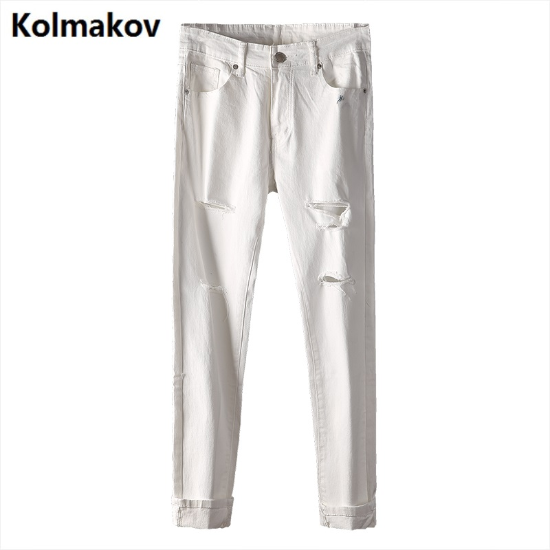 KOLMAKOV High quality 2017 new Brand men's holes jeans,Fashion Ankle-Length Pants jeans men 100% cotton men trousers hot sell 2pcs lot 3s 50a protection circuit bms pcm pcb battery protection board for 11 1v li ion lithium battery cell pack free shipping