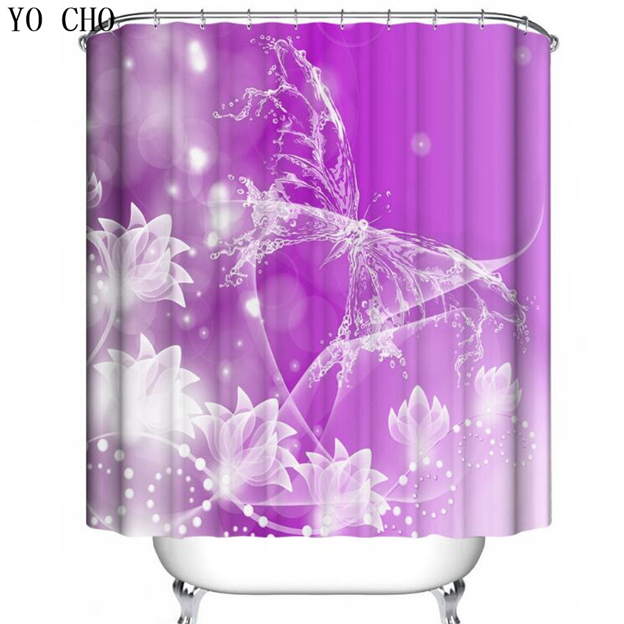 Yo cho 3d pretty butterfly pattern shower curtain cheap - Rideau de douche polyester ...