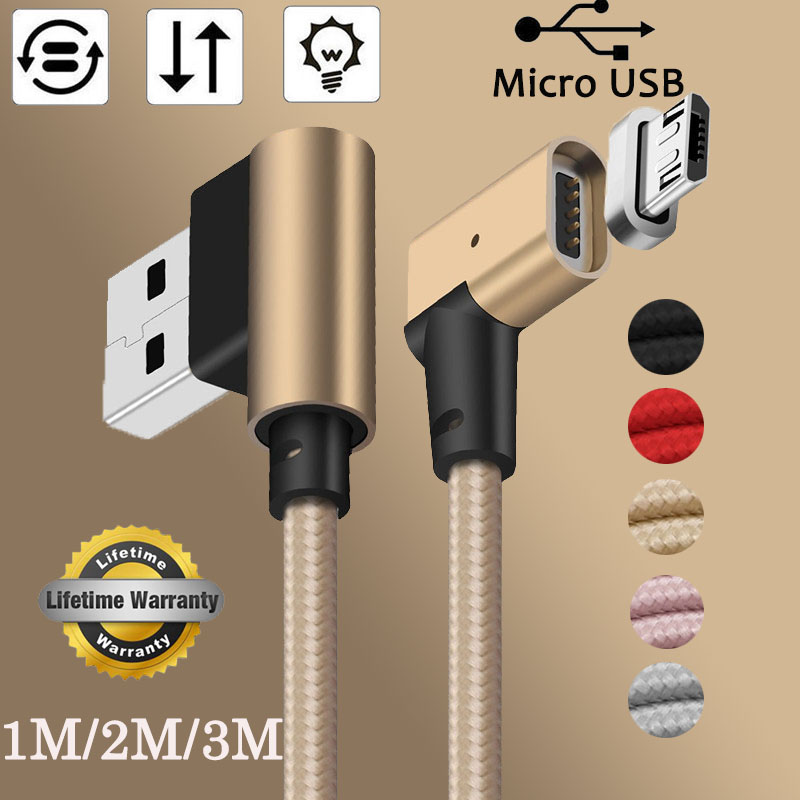 1/2/3M 90Degree LED Micro USB Magnetic Charger Cable Fast Transfer USB Cable For Samsung Galaxy S7 S6 Note 5 4 Android Phones