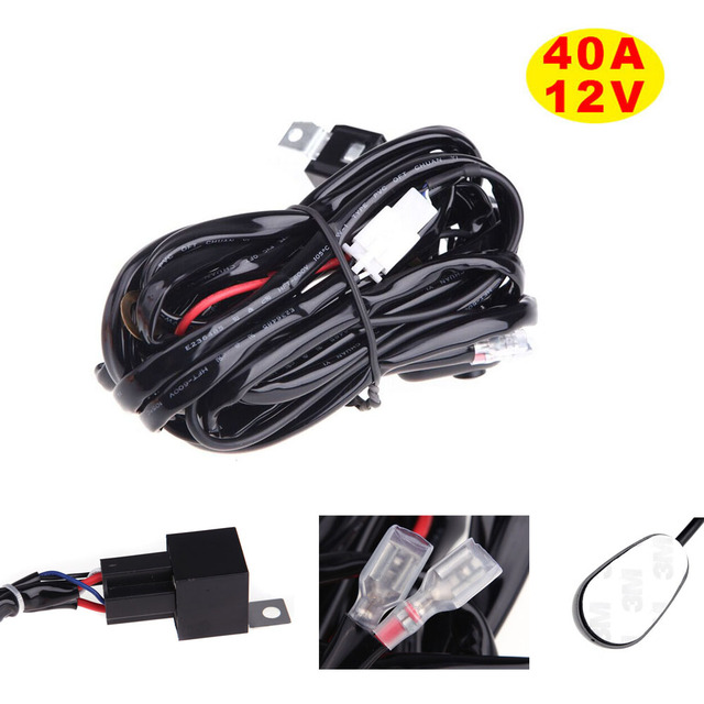 Universal 40A 12V Switch Relay Fuse Wiring Harness Kit for LED Light Bar Fog Spot On Off Switch Laser Rocker 10W up to 288W
