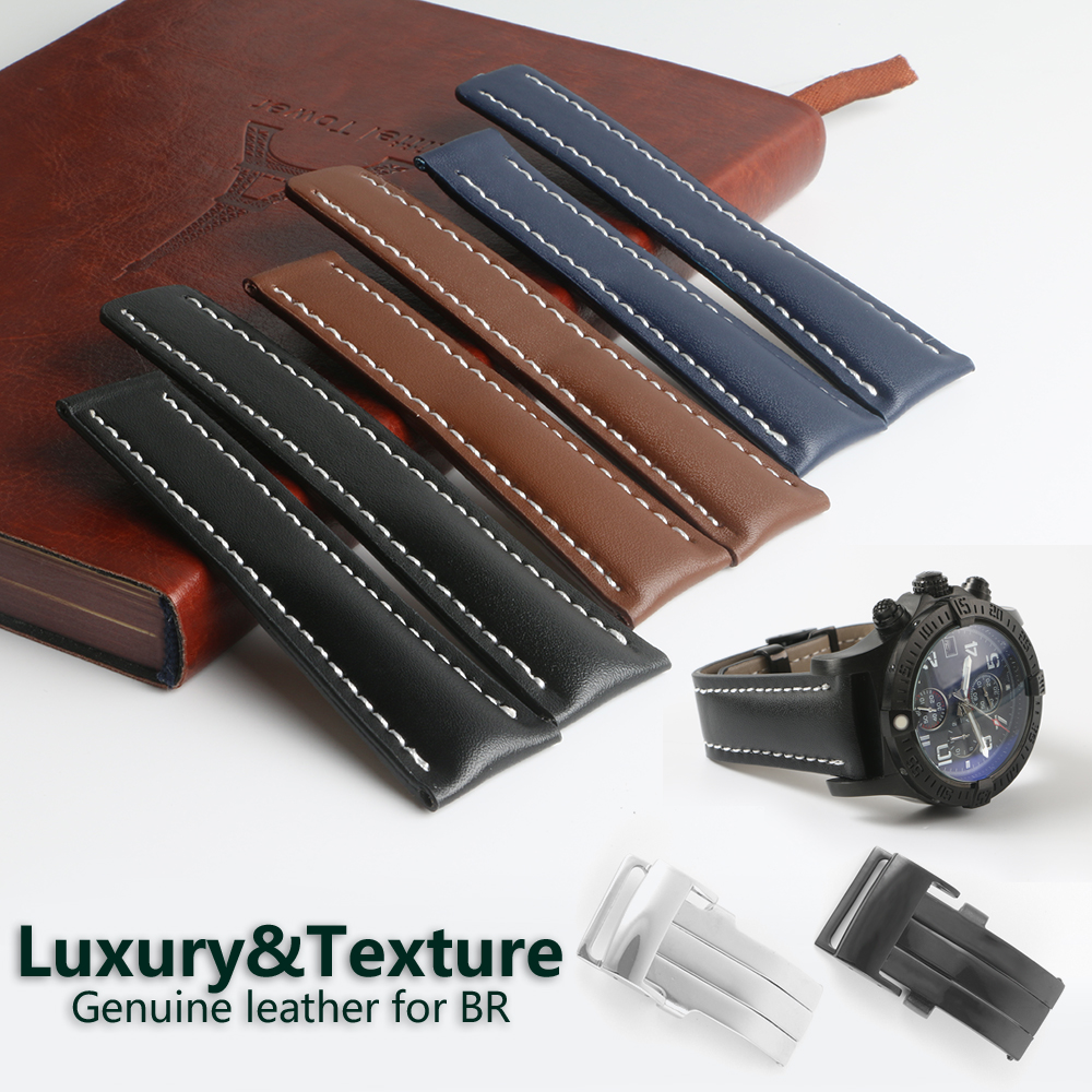 YQ Genuine Leather Watch Band Strap Black Brown Blue Soft Watchbands for Breitling Watch Man Watch 22mm 24mm with Tools tjp brands silicone rubber watch strap 22mm 24mm black watchbands bracelet for breitling nnavitimer avenger wristband