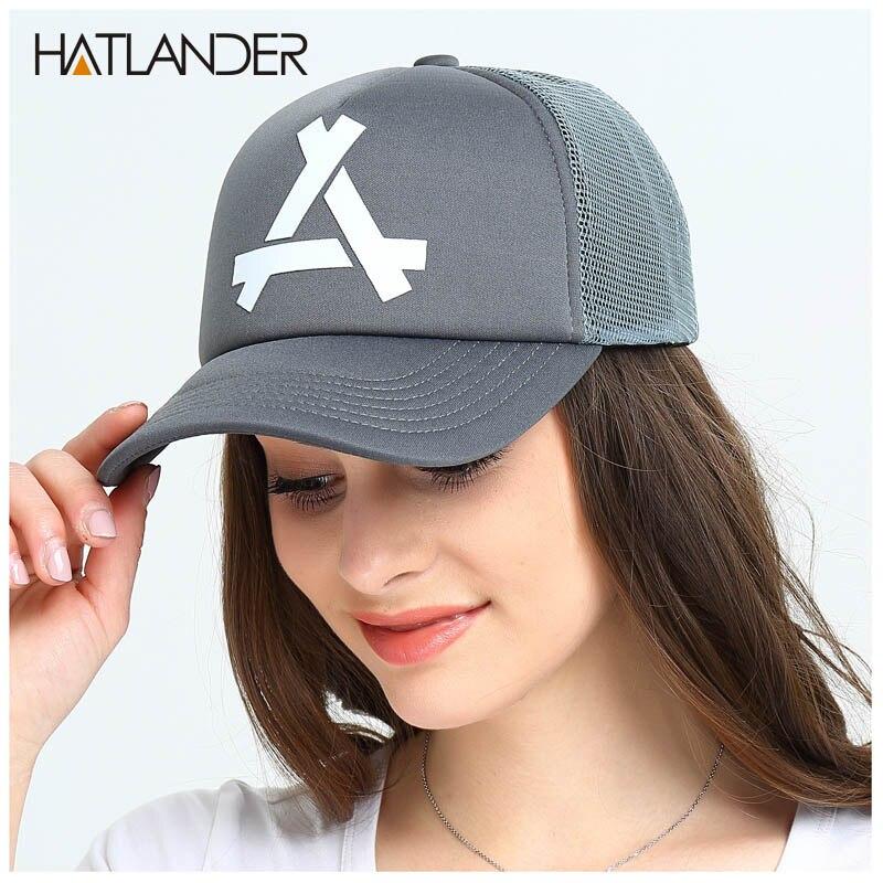 [HATLANDER]brand casual mesh baseball caps for women summer sun hats curved snapbacks casquette outdoor mesh trucker cap for men