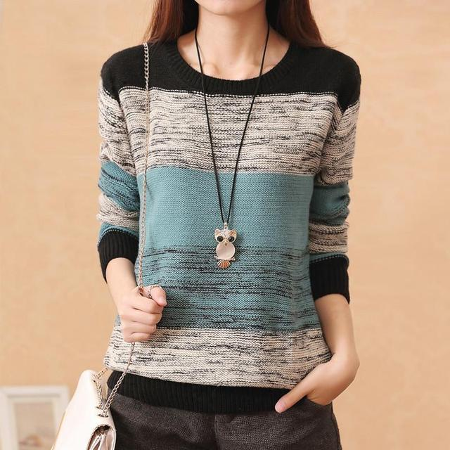 New Fashion Female  Pullovers Knitted Long Sleeve O-neck Winter Autumn Patchwork Sweaters Hot Sale