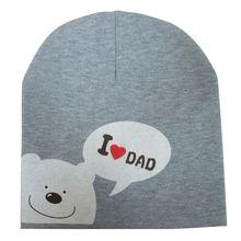 1 Pc New Cute Baby Hat I LOVE MOM DAD Cartoon Bear Knitted Cotton Beanie eb6ea7e85603