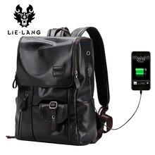Lielang marca zaino da uomo esterno USB carica antifurto scuola borsa pu borsa da viaggio in pelle casual bagpack 14 pollici laptop zaino