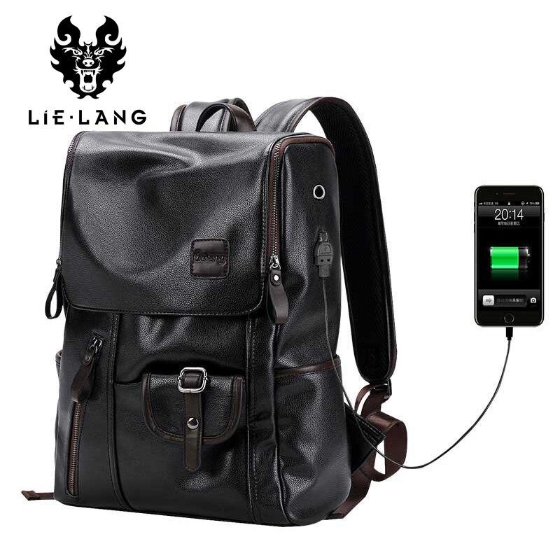 LIELANG Brand Backpack Men External USB Charge Antitheft School Bag PU Leather Travel Bag Casual Bagpack 14 Inch Laptop Rucksack