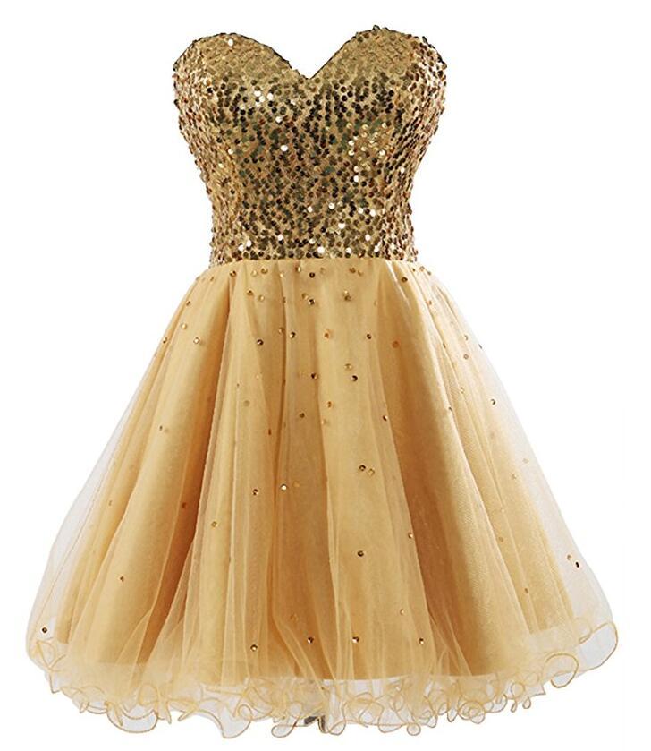 Superbe chérie or retour robes paillettes Corset perles courte robe de bal 2019 pas cher 8 Grade robes de Graduation