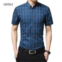 Summer Business Short Sleeve Plaid Shirt Mens Dress Shirt 100% Cotton Casual Slim Fit Male Social Shirt For Men Plus Size 5XL