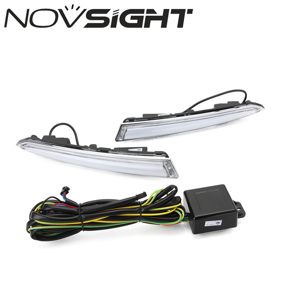 NOVSIGHT 2x LED DRL Auto Car Daytime Running Driving Lights Lamp Daylight for 2013-2014 Ford Kuga Escape high quality h3 led 20w led projector high power white car auto drl daytime running lights headlight fog lamp bulb dc12v