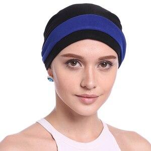 Image 3 - Haimeikang Autumn Winter Women Folded Turban Chemo Cap Hair Bands for Women Muslim Flower Headwrap Headbands Hair Accessories