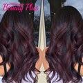7A preto e borgonha cabelo brasileiro feixes 1b 99j onda do corpo do cabelo brasileiro de uva roxo two tone ombre feixes de cabelo