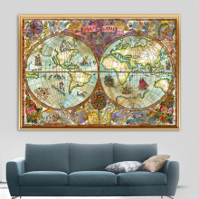 Watercolor Magic Legend World Map Vintage Posters And Prints Wall Art Canvas Painting Pictures For Living Room Home Decor
