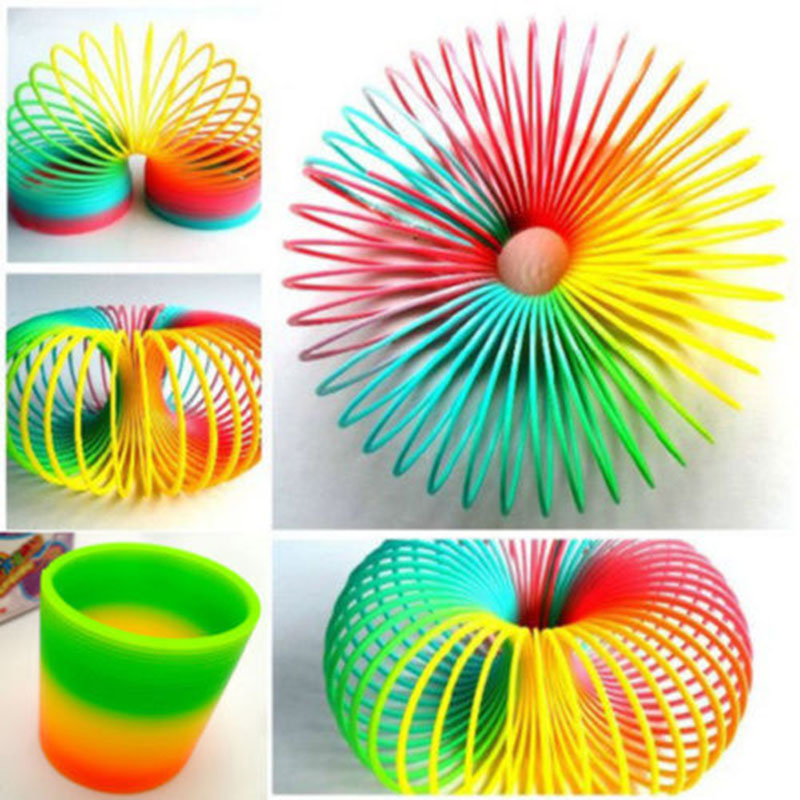 Childrens Fashion Colorful Rainbow Plastic Magic Slinky Exercise Hand Flexibility Toy Kids Birthday Xmas gift Free Shipping