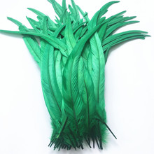 50Pcs/Lot Grass Green Rooster Tail Feather 30-35cm 12-14inch Natural Feathers for Crafts Wedding Decoration Accessories Plumes