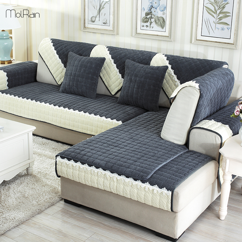 US $12.05 29% OFF|Plaid Sofa Slipcovers for Couch Velvet Furniture Covers  for Sectional Sofa Slip resistant Thick Sofa Cover Towel for Living Room-in  ...