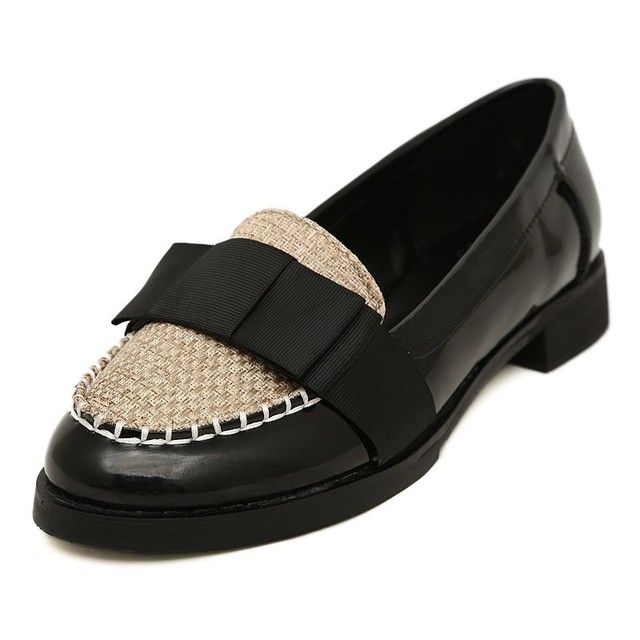 092d3d4777d40 New Fashion Round Toe Slip-on Women Flats Elegant England Style Patchwork  Ladies School Shoes