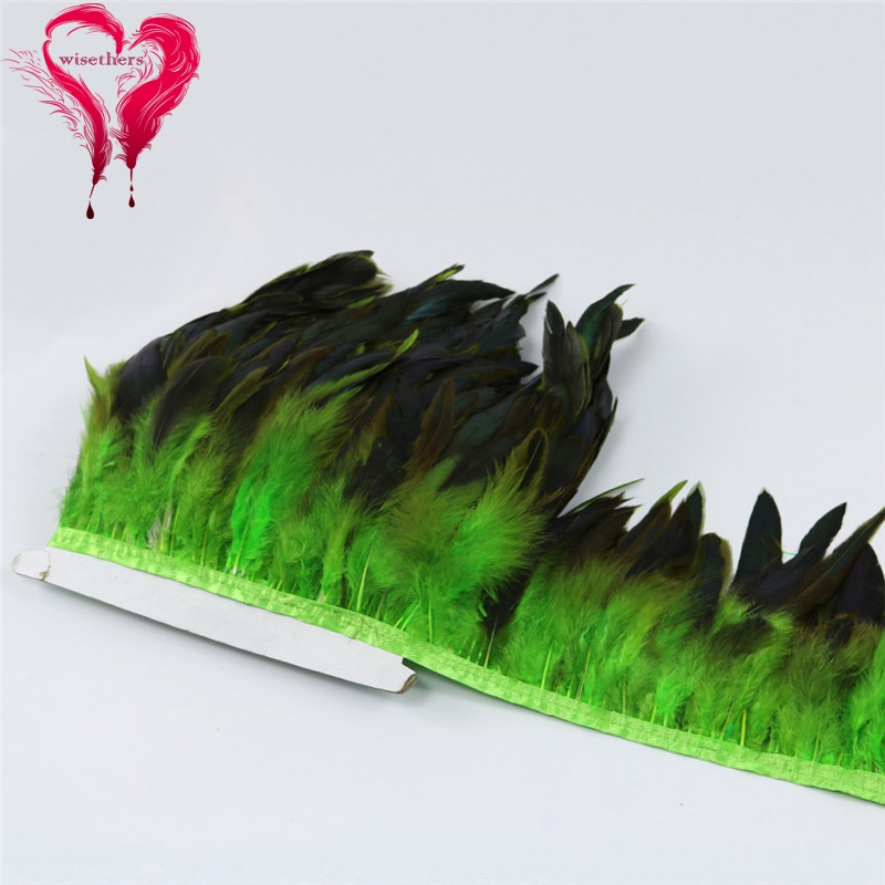 7 apple green rooster feather trims 4