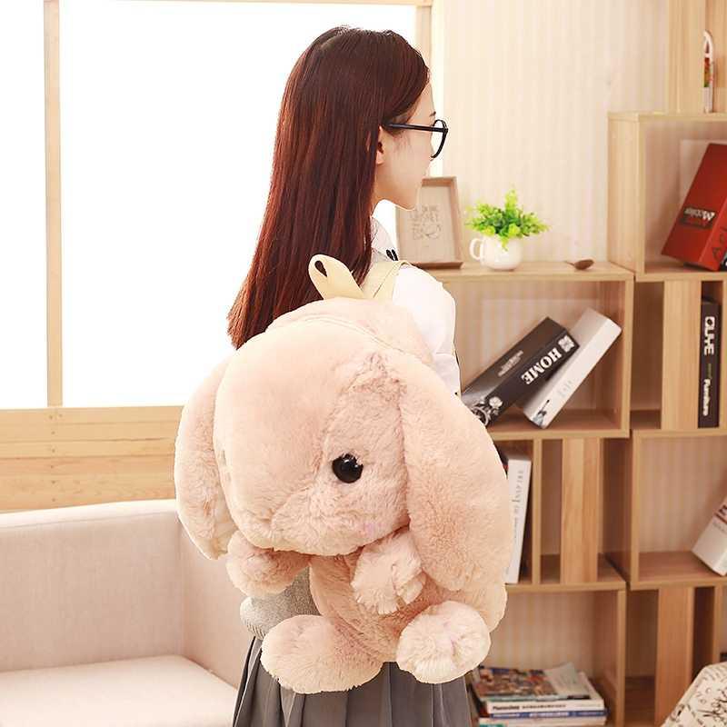 55 см прекрасный розовый рюкзак школы Kawaii плюшевый кролик рюкзак Японии Лолита Bunny мягкие Игрушечные лошадки для Обувь для девочек день рождения Плюшевые Сумка mr193