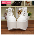 Japanese Harajuku Punk Cosplay Thick Heel Platform Shoes White Leather Lace-up Queen Shoes