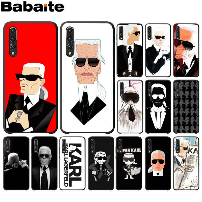 Babaite Karl Lagerfeld Black High Quality Soft TPU Phone Case for Huawei P10 plus 20 pro P20 lite mate9 10 lite honor 10 view10