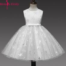 Бальное платье без рукавов Beauty Emily Real Photo, Тюлевое платье для девочки с цветочным принтом для свадьбы, красные детские вечерние платья с аппликацией