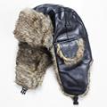 Free Shipping Winter Lover's Bomber Hats Outdoor PU Leather Faux Fur Winter Ear flap Snow Caps Ski Ushanka Winter Hats