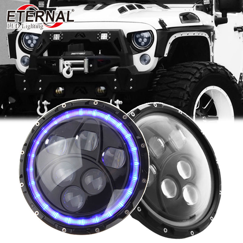 pair 120W round 7in dual sealed beam with angel eyes H4 led headlight for off road 4x4 jeep Wrangler Rubicon CT TJ JK FJ Miata
