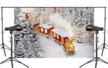 Exquisite snowflakes background Red train with smoke Smoke along Orbit Running Festivals Studio Background 150x220cm christmas