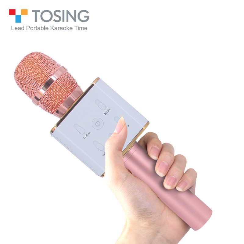 e40e7dfa4333 Tosing Q7 Беспроводной караоке микрофон Bluetooth Динамик стерео большой  объем двойной Динамик дизайн с Портативный открытый
