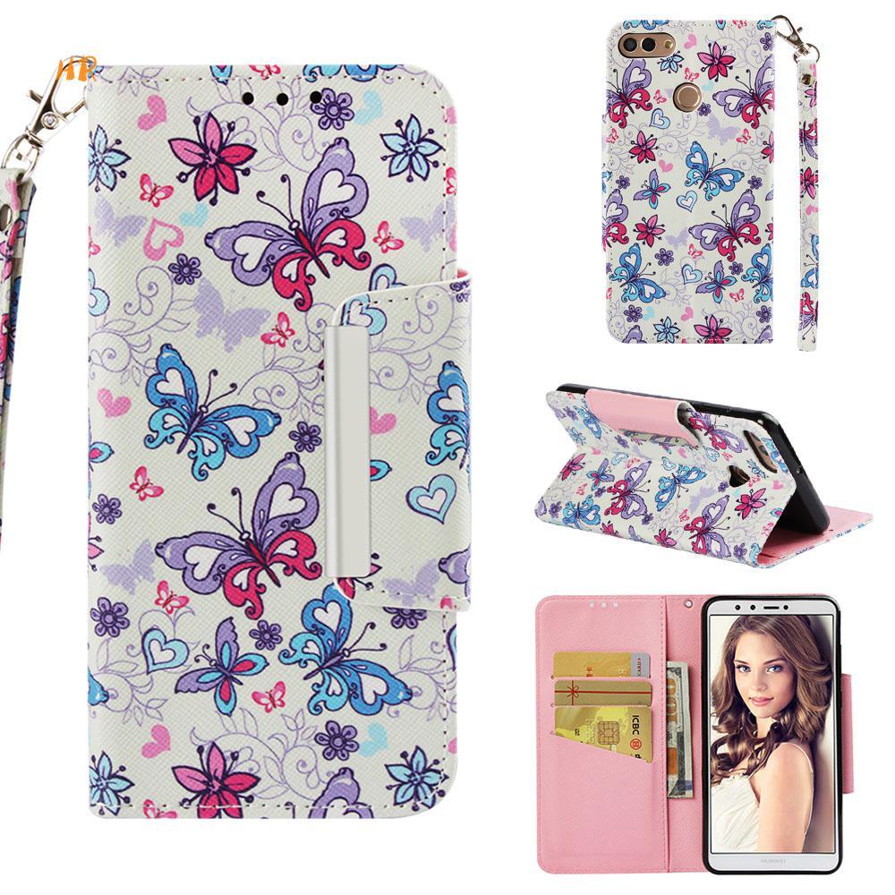 30 Stks Telefoon Case Voor Huawei Y9 (2018) Cover Flip Leather Case Voor Huawei Y5/y5 Prime (2018) Portemonnee 3d Geschilderd Telefoon Cover Heilzaam Voor Het Sperma