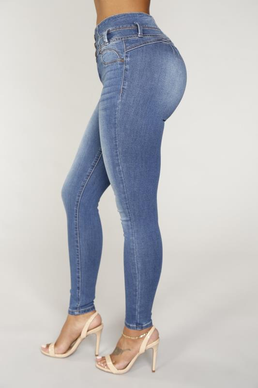 03786eff40ed7  4  Long Jeans Women High Waist Skinny Pencil Blue Denim Pants bleached  washed Stretch button sexy Jeans women plus big size S 3XL-in Jeans from  Women s ...