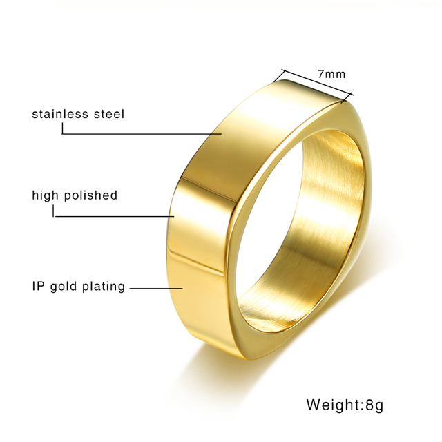 Vnox Stylish 7mm Square Shape Men Ring High Quality Stainless Steel Male Punk Jewelry Black Gold Color