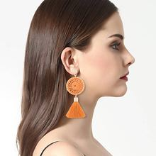 BK Women Tassels Earrings Bohemia Round Ring Manual Alloy Knitting Pendant Female Fashion For Banquet Present