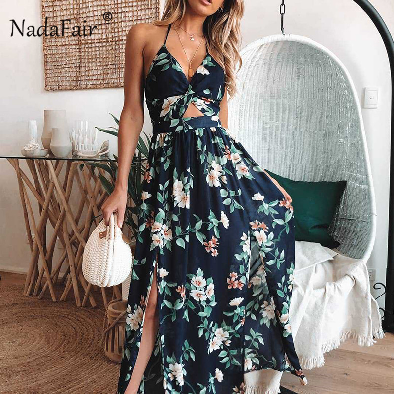 Nadafair Vintage Floral Print Long Dress Women Backless Bandage Sexy Summer Beach Dress Split Cut Maxi Halter Boho Dress Blue Платье