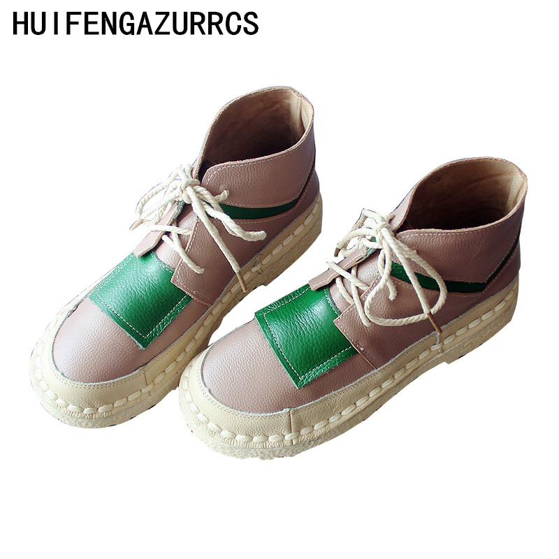 HUIFENGAZURRCS Hand made original literary boots autumn amp winter new genuine leather boots women 39 s soft sole comfort amp ankle boots in Ankle Boots from Shoes