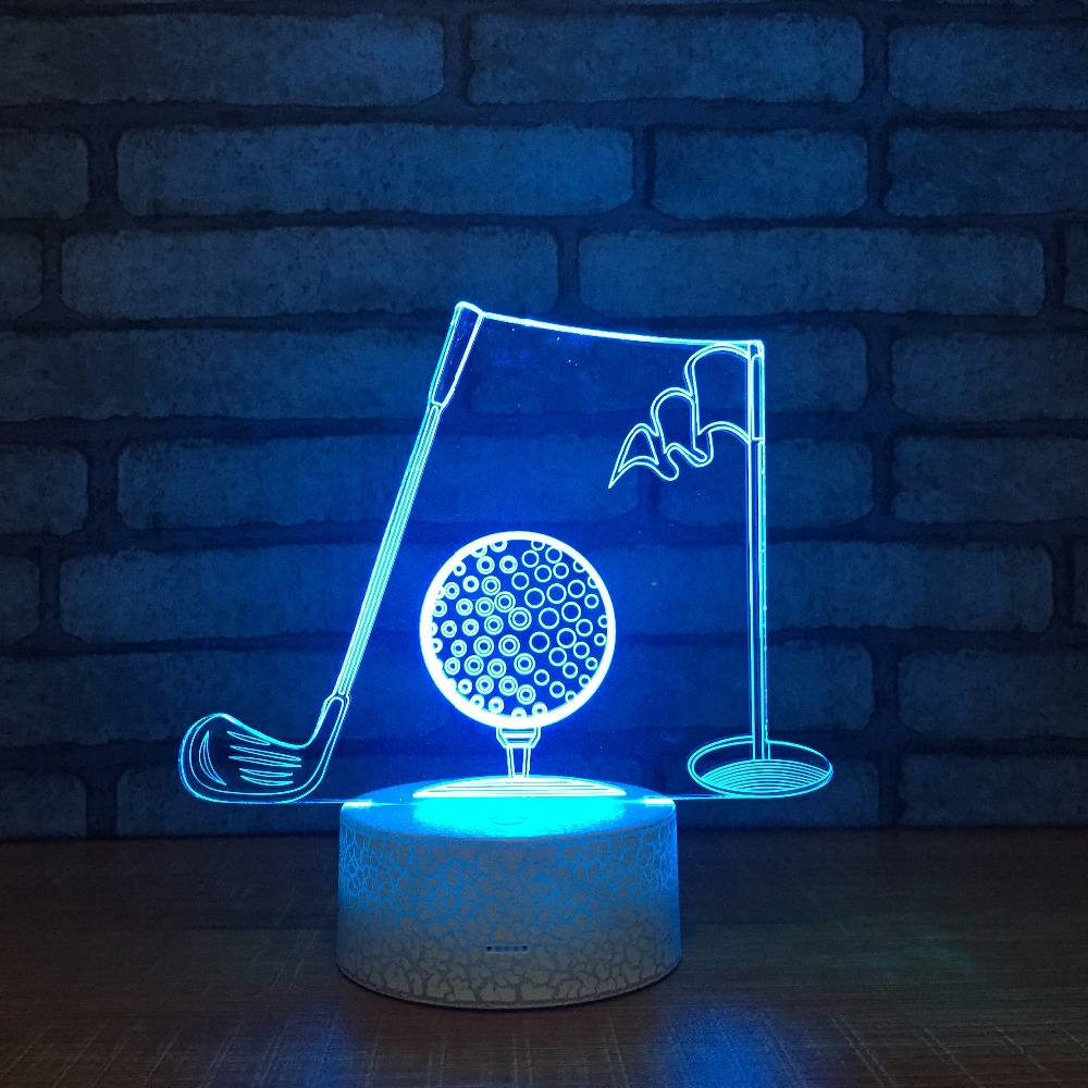3D Golf Set Visual Table Lamp Acrylic Touch Switch 3D Night Light LED 7 Color Changing Bedroom Office Decor For Freind Gift