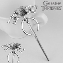 2018 Action Games Daenerys Targaryen Naga Bros Silver Pin Logam Bros Hadiah Aksesoris Cosplay Aksesoris Cosplay Halloween(China)