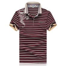 5XL red navy white summer mens polo shirts brands short sleeve striped print polo shirt men camisa polo masculina P570