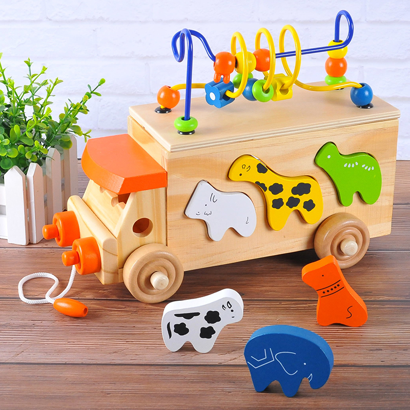 29.68US $ 10% OFF|Candice guo Montessori wooden toy wood animal beads bus transport car model zoo block shape match game baby drag vehicle 1set|Model Building Kits|   - AliExpress