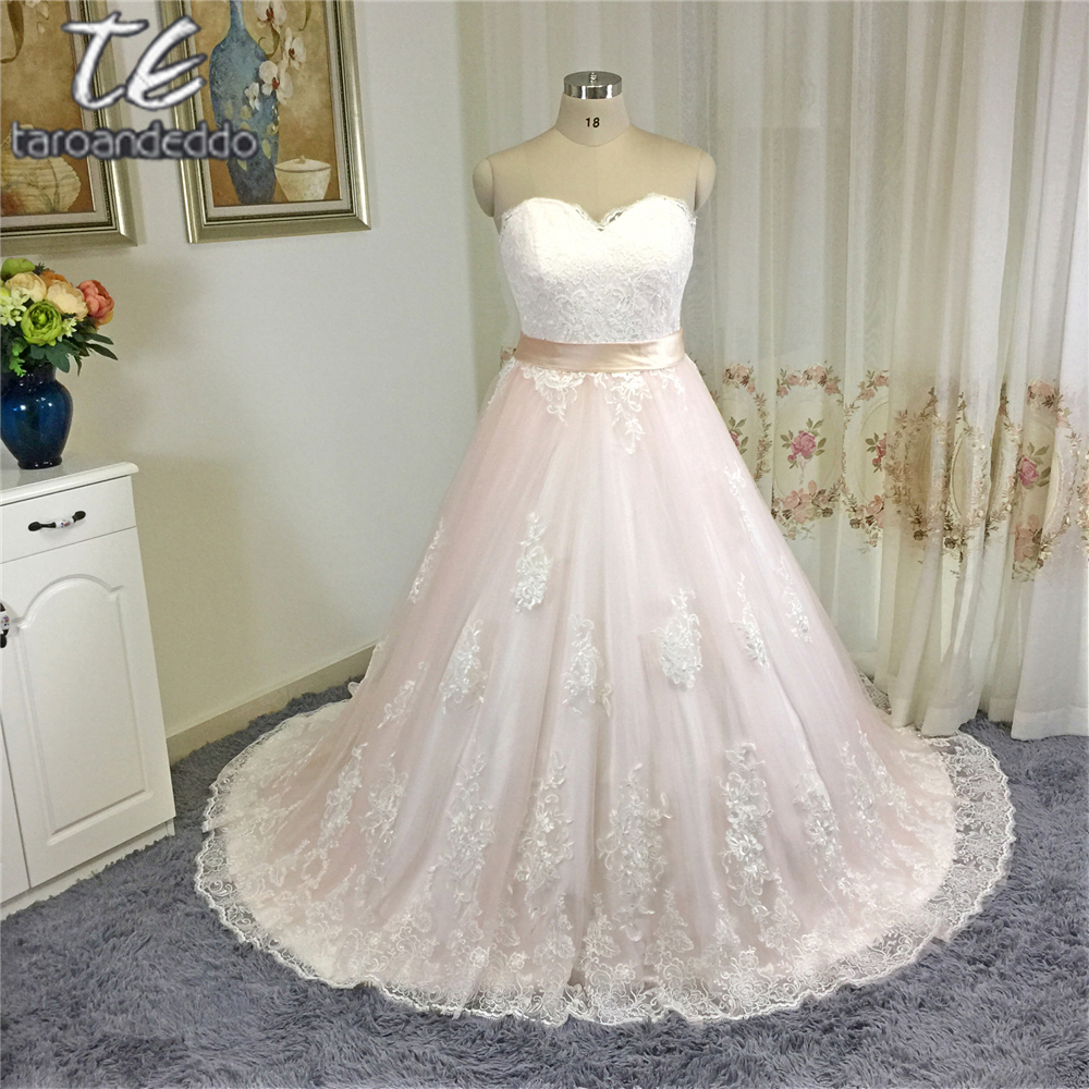 Princess Ball Gowns For Wedding: Princess Ball Gowns Blush Wedding Dress With Sash Applique