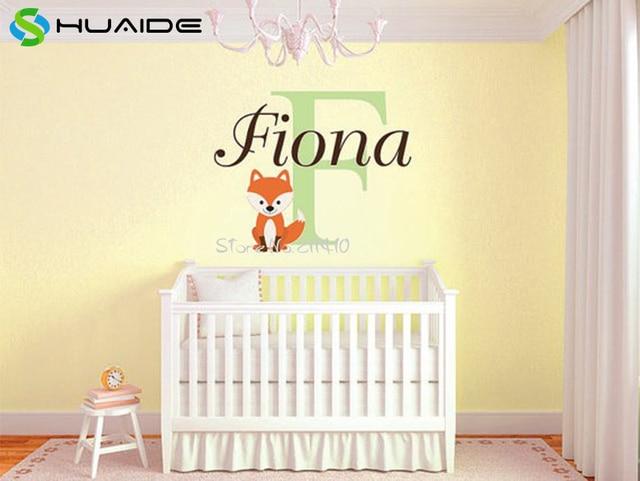Online Shop Custom Fox Name Monogram Vinyl Wall Decal Baby Nursery - Monogram vinyl wall decals