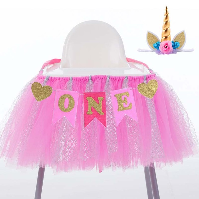 Pink Blue Highchair Banner Unicorn Hat Headband For Baby Boy Girl Twins One Year Old 1st
