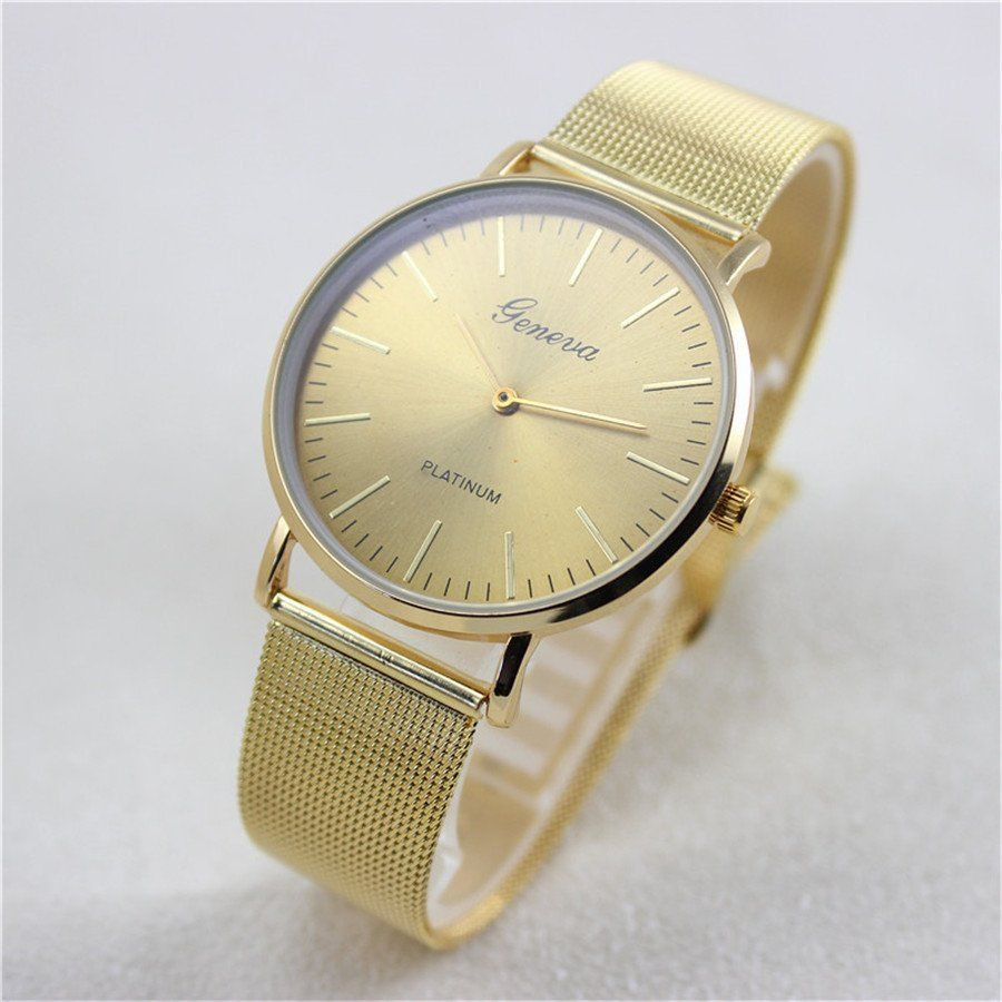 HOT Fashion Wrist Watches for Women Geneva Quartz-Watch Glod/Silver Stainless Steel Mesh Band Analog Business Necessary Watch  недорого