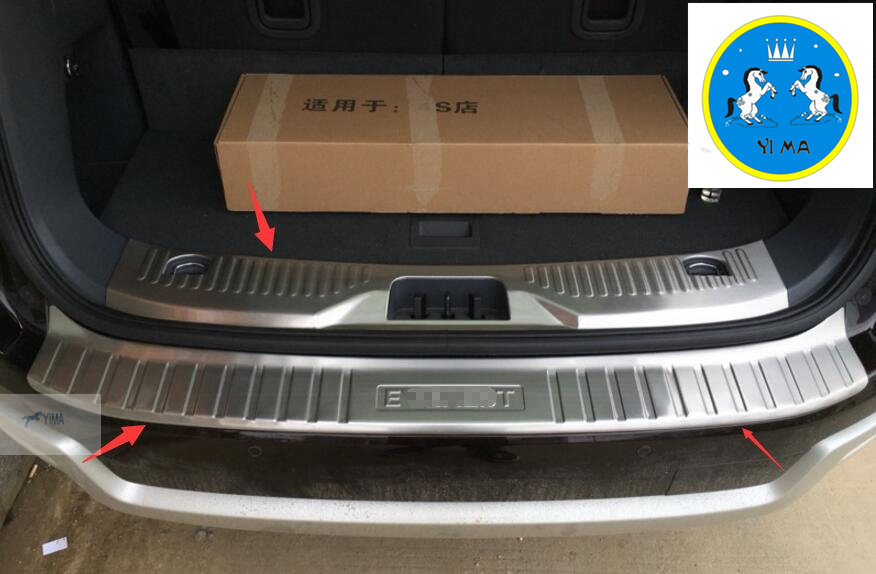 For Ford Everest 2016 Stainless Steel Rear ( inner + outer) Door bumper Sill Protector Plat 2 Pcs / Set stainless steel rear outer inner bumper protector door sill plate 2 pcs for ford explorer 2016 2017