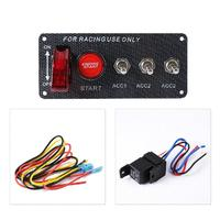 Partol Universal Racing Car 12V LED Ignition Switch Panel Engine Start Push Button Toggle High Quality Carbon Fiber Face Plate