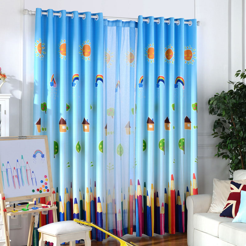 blackout curtains and tulle for children room rainbow window curtain baby drapes kids blinds cartoon boy - Blackout Blinds For Baby Room
